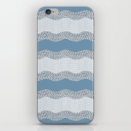 Wavy River VI in blue and grays iPhone Skin