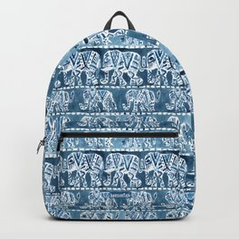 ELEPHANT SAFARI Tribal Indigo Ikat Pattern Backpack
