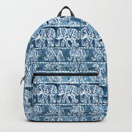 ELEPHANT SAFARI Tribal Indigo Ikat Pattern Backpack