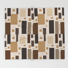 Retro Squares in Browns and Golds Throw Blanket