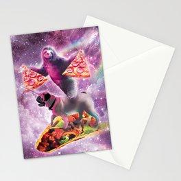 Space Pizza Sloth On Pug Unicorn On Taco Stationery Cards