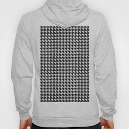 Friendly Houndstooth Pattern, black and white Hoody
