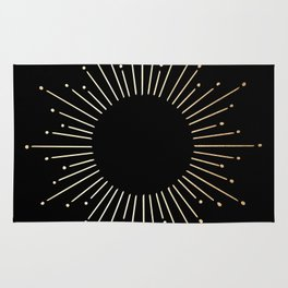 Sunburst Gold Copper Bronze on Black Rug