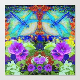 "BLUE ""ZINGER"" DRAGONFLIES  & PURPLE FLOWERS ART Canvas Print"