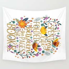 Folded Between the Pages of Books - Floral Wall Tapestry