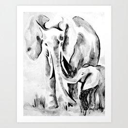 Elephant eskimo kiss black and white Art Print