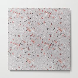 Pink Terrazzo Speckled Vintage Design Pattern Metal Print