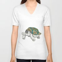 tortoise V-neck T-shirts featuring Tortoise by Ouizi - Los Angeles