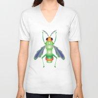 bug V-neck T-shirts featuring Bug by MinaSparklina
