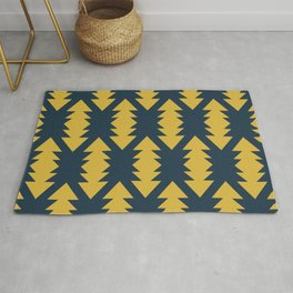 Southwest Criss Cross Pattern in Light Mustard and Navy Blue Rug