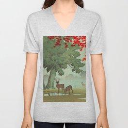 Vintage Japanese Woodblock Print Nara Park Deers Green Trees Red Japanese Maple Tree Unisex V-Neck