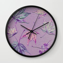 Japanese maple leaves - cerise and pistachio green on light purple Wall Clock