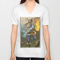 the legend of korra V-neck T-shirts featuring The Legend Of Korra by Fran Agostinelli