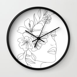Minimal Line Art Woman Face II Wall Clock