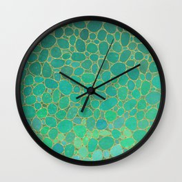 Soft gardient green pebbles pattern Wall Clock