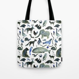 Animals in Black (and blue) Tote Bag