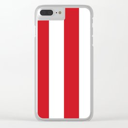 Wide Vertical Stripes - White and Fire Engine Red Clear iPhone Case