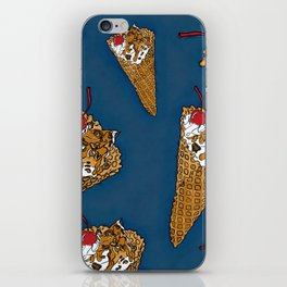 THERE'S ALWAYS TIME FOR A WAFFLE CONE, SOME VANILLA ICE CREAM, CARAMEL, NUTS AND A CHERRY! - BLUE  iPhone Skin