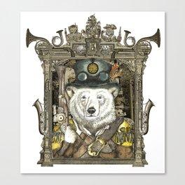 Polarbear Warden with Steampunk Frame Canvas Print