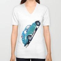 volkswagon V-neck T-shirts featuring Blue VW Bug by Regan's World