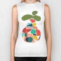 pear Biker Tanks featuring Fresh Pear by Picomodi