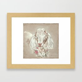 Goat with Floral Wreath by Debi Coules Framed Art Print