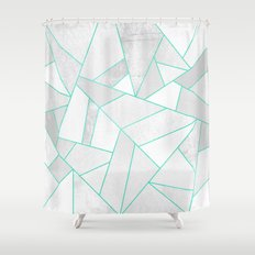 White Stone with Turquoise Lines Shower Curtain