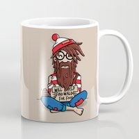 waldo Mugs featuring Will help find Waldo for food by mebz art