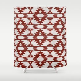 Bright red and white brushed tribal kilim pattern Shower Curtain