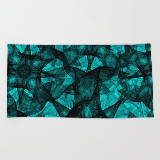 Fractal Art Turquoise G52 Beach Towel
