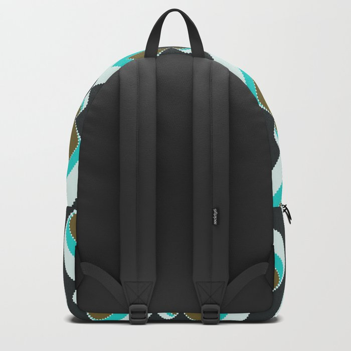 Retro pattern . Peacock Tail 2 . Backpack