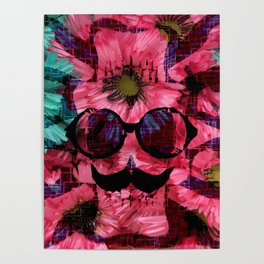 vintage old skull portrait with red and blue flower pattern abstract background Poster