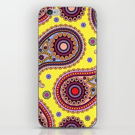 Oriental Persian Paisley, Dots - Yellow Blue Pink iPhone Skin