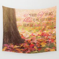 poem Wall Tapestries featuring Autumn Leaves Poem by Graphic Tabby