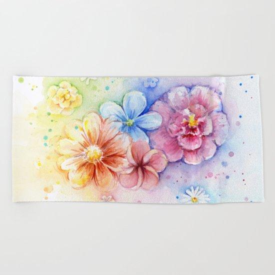 Flowers Rainbow Watercolor Beach Towel