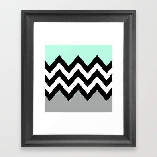 DOUBLE COLORBLOCK CHEVRON {MINT/BLACK/GRAY} Framed Art Print