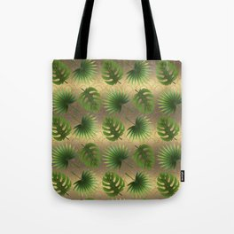 Tropical Leaves Gold Great Gatsby Tote Bag
