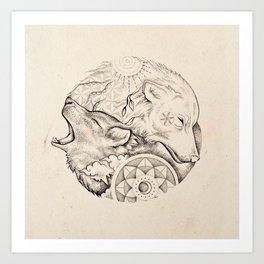Sun wolf, moon wolf Art Print