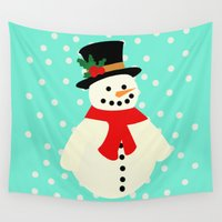 snowman Wall Tapestries featuring Snowman by slaterkerry