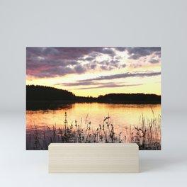 Sunset By The Lake - Summer Scene Mini Art Print