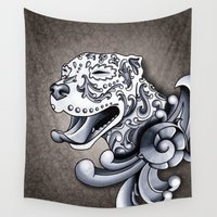 pit bull Wall Tapestries featuring Ornamental Pit Bull by Pretty In Ink