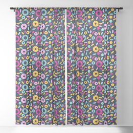 geometric flowers. bright pattern on a dark background Sheer Curtain