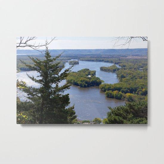 Upper Mississippi River, looking downriver from Buena Vista Park, Alma, WI Metal Print