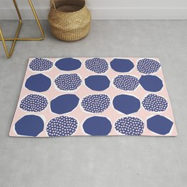Polka Collage Pattern - Pink and Blue Rug
