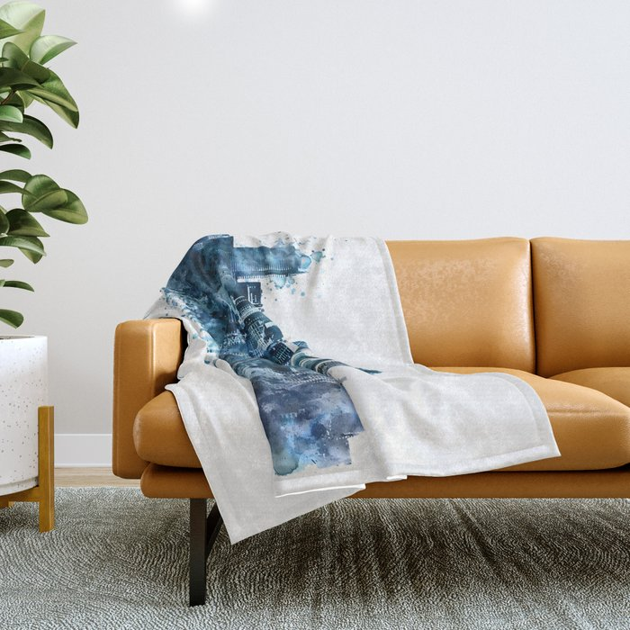 Seattle Skyline monochrome watercolor Throw Blanket