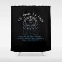 lotr Shower Curtains featuring Moria Portal by CarloJ1956