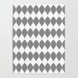 Geometric Medium Grey leaves on White Poster