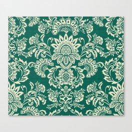 Damask vintage in green Canvas Print