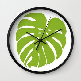 Large Monstera Leaf Illustration // Hand-drawn Modern Organic Vibrant Art Print Wall Clock