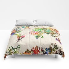world map floral Comforters